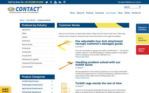 Screenshot of Case Studies Page forklift-attachments.co.uk - Latest Customer Stories | Forklift Attachments - captured Aug. 26, 2017