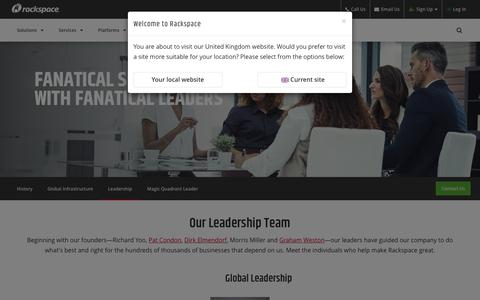 Screenshot of Team Page rackspace.com - Rackspace Leadership Team - captured Sept. 21, 2018