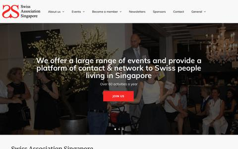 Screenshot of Home Page swiss-sg.org - Swiss Association Singapore | Over 60 activities a year - captured Oct. 1, 2018