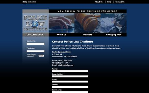 Screenshot of Contact Page policelaw.org - Police Law Institute - Contact Information - captured Oct. 3, 2014
