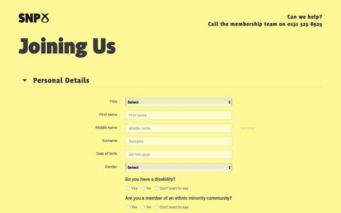 Screenshot of Signup Page snp.org - Joining Us - SNP - captured Sept. 23, 2018