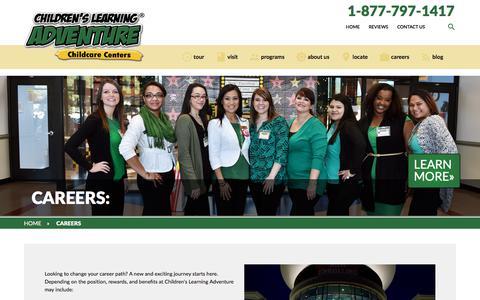 Screenshot of Jobs Page childrenslearningadventure.com - Education, Careers, Teacher, - captured July 17, 2018