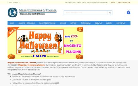 Screenshot of Home Page mage-extensions-themes.com - Mage Extensions Themes- Magento Extensions, Plugins, Services, Magento development - captured Oct. 19, 2018