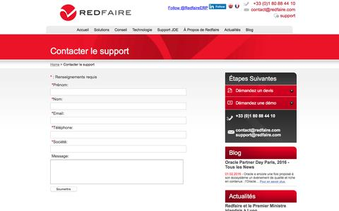 Screenshot of Support Page redfaire.fr - Redfaire : Contacter le support - captured March 8, 2016