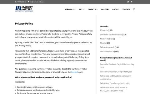 Screenshot of Privacy Page marketmettle.com - Privacy Policy | Market Mettle - captured July 18, 2018