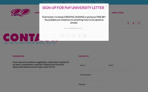 Screenshot of Contact Page pop.university - Contact – PoP UNIVERSITY - captured July 7, 2018
