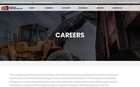 Screenshot of Jobs Page angelescontractor.com - Careers - Angeles Contractor, Inc. - captured Oct. 3, 2018