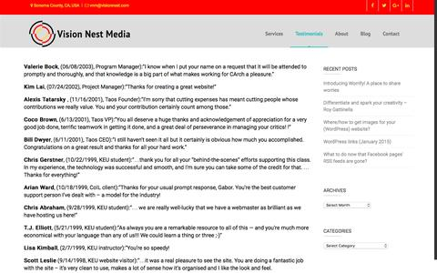 Screenshot of Testimonials Page visionnest.com - Testimonials – Vision Nest Media - captured Dec. 14, 2016