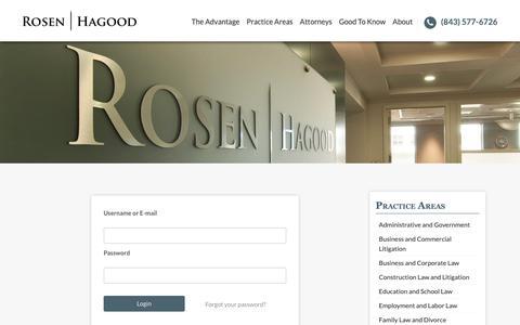 Screenshot of Login Page rrhlawfirm.com - Login - Rosen Hagood | Charleston, SC Attorneys at Law - captured Oct. 18, 2018
