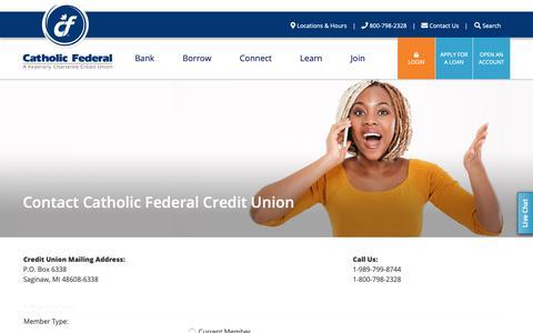 Screenshot of Contact Page cathfcu.com - Contact Catholic Federal Credit Union - Catholic Federal CU - captured Oct. 18, 2018
