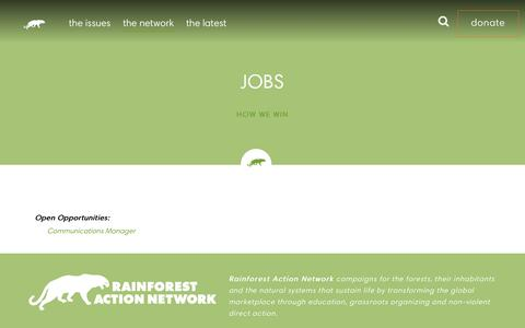 Screenshot of Jobs Page ran.org - Jobs - Rainforest Action Network - captured Jan. 4, 2016