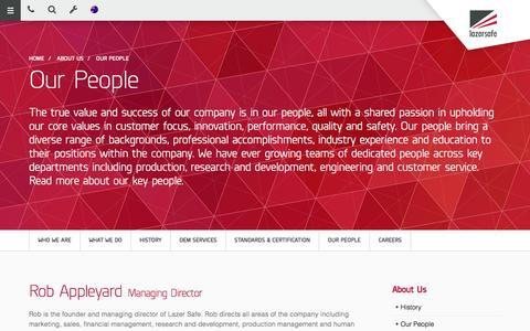 Screenshot of Team Page lazersafe.com - Lazer Safe | Our People - captured Jan. 27, 2016