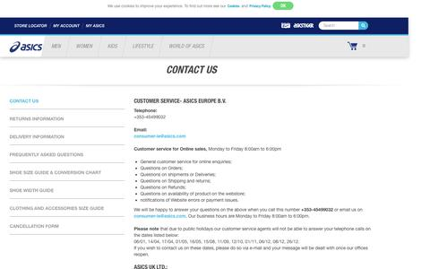 Screenshot of Contact Page asics.com - Contact Us   ASICS IE - captured Nov. 19, 2016