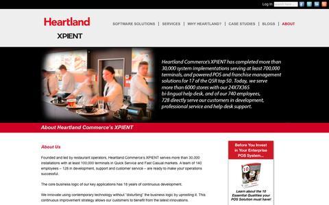 Screenshot of About Page xpient.com - About Heartland Commerce's XPIENT - XPIENT Solutions - captured Nov. 19, 2016