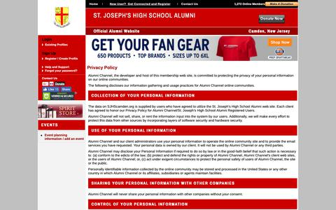 Screenshot of Privacy Page sjhscamden.org - St. Joseph's High School Alumni - Privacy Policy - captured Oct. 21, 2018