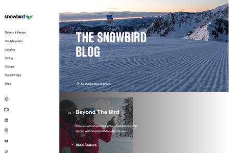 Screenshot of Blog snowbird.com - The Snowbird Blog - captured Jan. 11, 2020