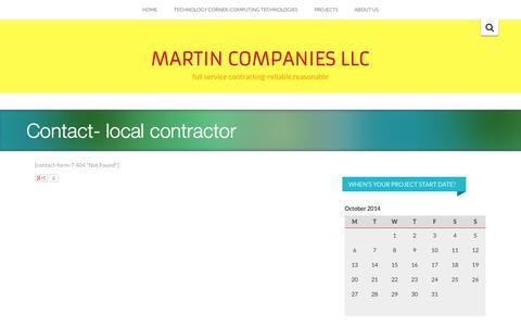 Screenshot of Contact Page martinmn.com - Contact-       local contractor - MARTIN COMPANIES LLC - captured Oct. 27, 2014