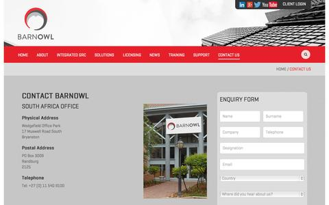 Screenshot of Contact Page barnowl.co.za - Contact the BarnOwl South Africa & United Kingdom Offices - captured Sept. 30, 2014