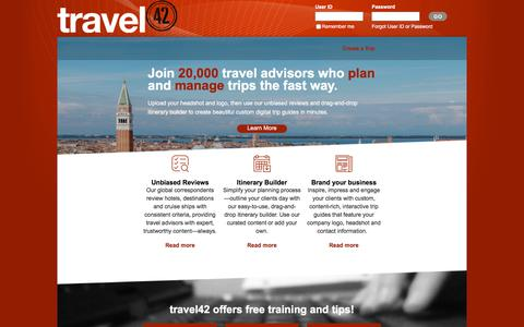 Screenshot of Home Page travel-42.com - travel42 - Hotel reviews, destination guides and travel alerts for travel professionals - captured Oct. 16, 2017