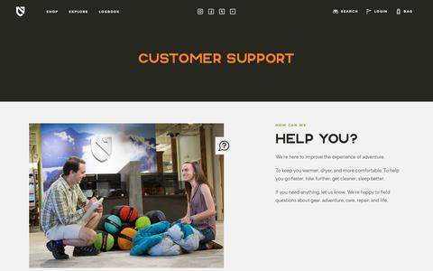 Screenshot of Support Page nemoequipment.com - Customer Support   NEMO Equipment - captured Oct. 18, 2018