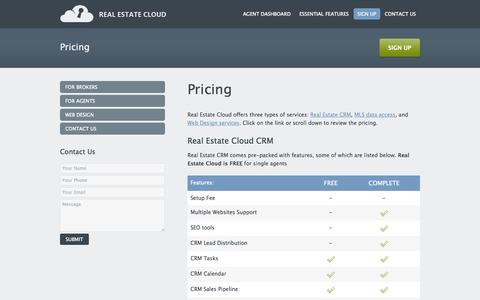 Screenshot of Pricing Page realestatecloud.co - Pricing | Real Estate Cloud - captured Sept. 19, 2014