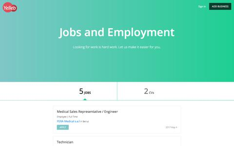 Screenshot of Jobs Page yelleb.com - Jobs and Employment - captured July 28, 2017
