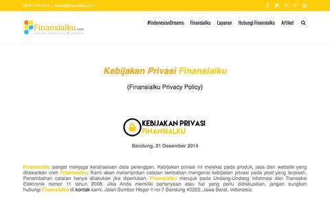 Screenshot of Privacy Page finansialku.com - Kebijakan Privasi Privacy Policy Finansialku - captured Jan. 18, 2016