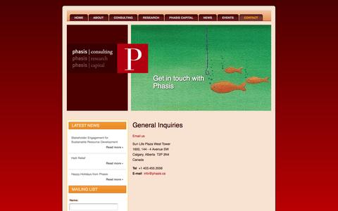 Screenshot of Contact Page phasis.ca - Phasis Consulting [ Contact  ] - captured Oct. 1, 2014