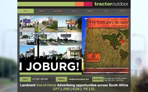 Screenshot of Home Page tractoroutdoor.com - Tractor Outdoor - outdoor advertising company - captured Sept. 30, 2014