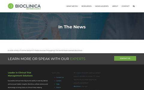 Screenshot of Press Page bioclinica.com - In The News | Bioclinica - captured Sept. 25, 2019