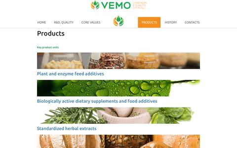 Screenshot of Products Page vemo-vsv.com - Products | VEMO 99 | Food and Feed additives, herbal extracts, enzymes - captured Dec. 2, 2016