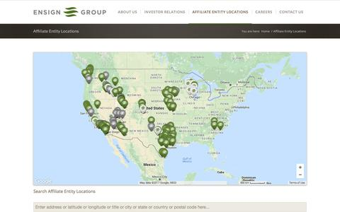 Screenshot of Locations Page ensigngroup.net - Affiliate Entity Locations – The Ensign Group, Inc. - captured Aug. 9, 2017