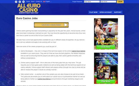 Screenshot of Jobs Page alleurocasino.com - All Euro Casino: Job Opportunities For Our Casino Euro - captured Oct. 3, 2014