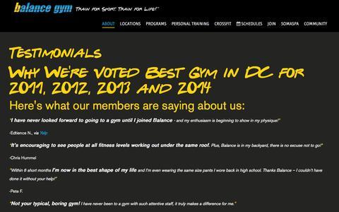 Screenshot of Testimonials Page balancegym.com - Balance Gym Testimonials - captured Dec. 29, 2015