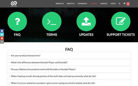Screenshot of Support Page samplelogic.com - Support | Sample Logic LLC. - captured Oct. 2, 2018
