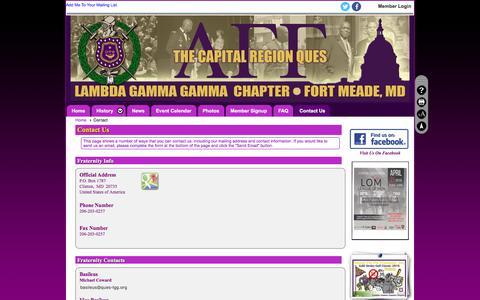 Screenshot of Contact Page clubexpress.com - Contact - Lambda Gamma Gamma Chapter, Omega Psi Phi Fraternity - captured June 29, 2018