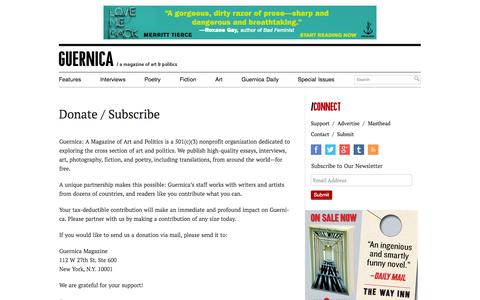 Screenshot of Support Page guernicamag.com - Donate / Subscribe - Guernica / A Magazine of Art & Politics - captured Sept. 19, 2014