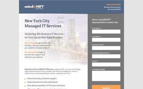 Screenshot of Landing Page mindshift.com - New York IT Managed Service Company - IT Service Provider - captured July 26, 2016