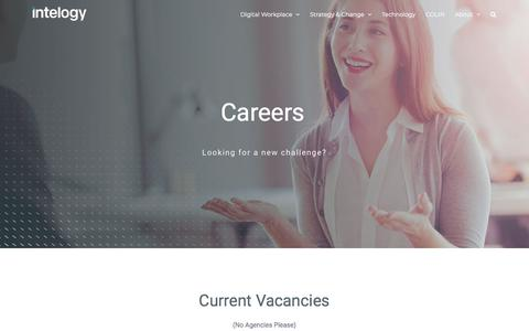 Screenshot of Jobs Page intelogy.co.uk - Join our team | Intelogy - captured July 19, 2019