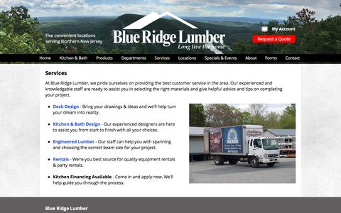 Screenshot of Services Page blueridgelumber.com - Services| Blue Ridge Lumber Company | Northern New Jersey - captured July 19, 2019