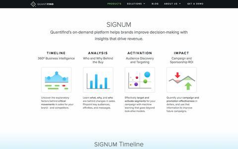 Screenshot of Products Page quantifind.com - The Signum Platform  | Quantifind - captured May 9, 2017