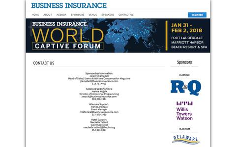 Screenshot of Contact Page businessinsurance.com - Contact - World Captive Forum 2018 - Conferences | Business Insurance - captured Jan. 5, 2018