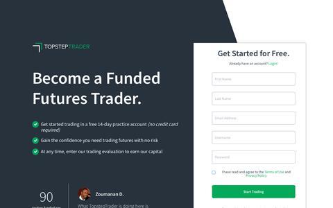 Screenshot of Signup Page topsteptrader.com - Dashboard - TopstepTrader - captured Sept. 21, 2018