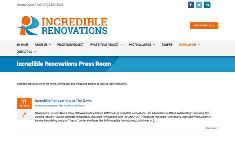 Screenshot of Press Page incrediblerenovations.com - Incredible Renovations Press Room   Incredible Renovations - captured July 22, 2019
