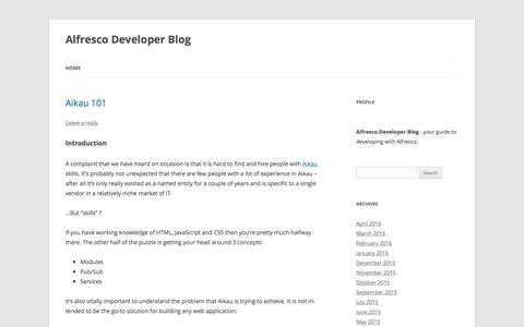 Screenshot of Developers Page alfresco.com - Alfresco Developer Blog | - captured April 22, 2016