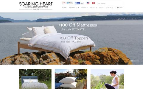 Screenshot of Home Page Products Page soaringheart.com - Soaring Heart Natural Bed Company - Welcome - captured Oct. 6, 2014