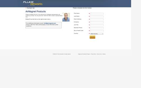 Screenshot of Landing Page flukenetworks.com - WLAN Contact Us - captured Oct. 27, 2014