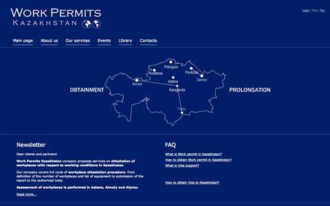 Screenshot of Home Page wpk.kz - Work Permits Kazakhstan - captured Oct. 8, 2014