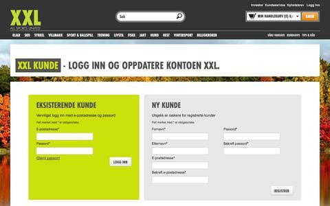 Screenshot of Login Page xxl.no - XXL sport & villmark - sportsbutikk på nettet - sportsutstyr, merkevarer til lave priser online | XXL - captured Oct. 30, 2014