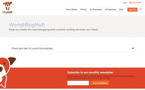 Screenshot of Jobs Page blogmutt.com - Work@BlogMutt - captured Sept. 6, 2016
